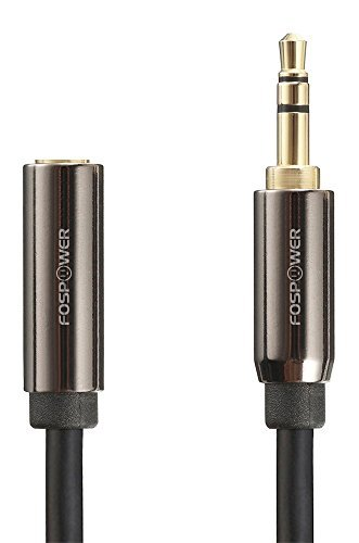 FosPower (7.6 m / 25 ft) 3.5mm Male to 3.5mm Female Stereo Audio Extension Cable Adapter (Gold Plated Connectors) for Apple, Samsung, Motorola, HTC, Nokia, LG, Sony Devices & More - Black