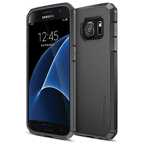 Galaxy S7 Case, Trianium [Protak Series] Ultra Protective Cover Case for Samsung Galaxy S7 [Black] Dual Layer + Shock-Absorbing Bumper Hard Case [Lifetime Warranty]