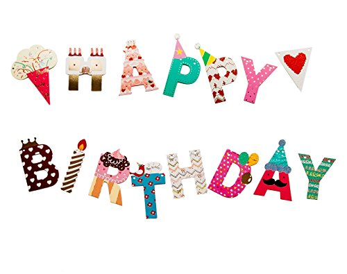 Happy Birthday Bunting Flag Paper Banner - Party Decoration Supplies with Colorful Letters - for girls and boys and adults