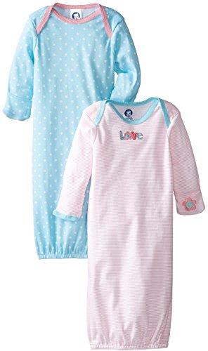 Gerber Baby-Girls Newborn 2 Pack Love Lap Shoulder Gown, Pink, 0-6 Months