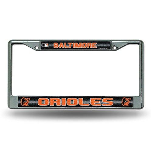 MLB Baltimore Orioles Bling License Plate Frame, Chrome, 12 x 6-Inch