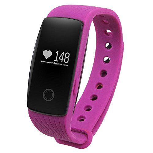 GearBest Sports Smart Bracelet with Heart Rate Monitor Remote Camera Water-resistant (Purple)