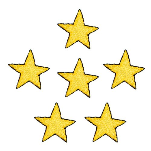 Expo Iron-On Embroidered Applique Patches, BaZooples Star, 6-Pack