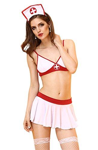 LifeVV Women's Sexy Lingerie Nurse Halter Teddy Cosplay Costume