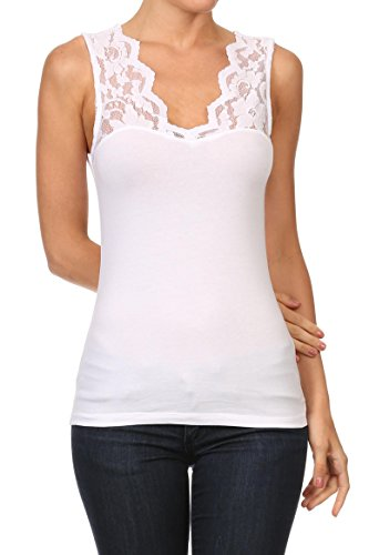 Womens Casual V Neck Floral Lace Cotton Sleeveless Tank Top, White, Large