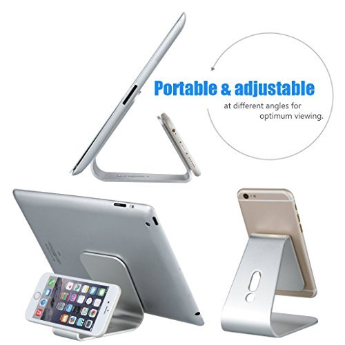 HOTOR Aluminum Metal Stand for all iphones, Galaxy and Smartphones,Silver