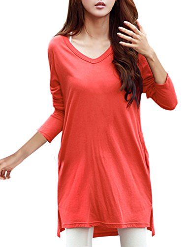 Allegra K Woman Long Sleeves Tunic w Pockets