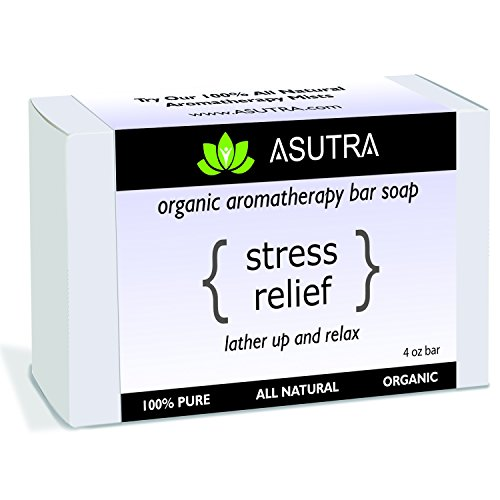Certified Organic Aromatherapy Bar Soap - STRESS RELIEF - Lather Up & Relax - 100% Pure, Vegan, Natural, Lavender Essential Oil + FREE Storage & Travel Case (1pk /4 oz)