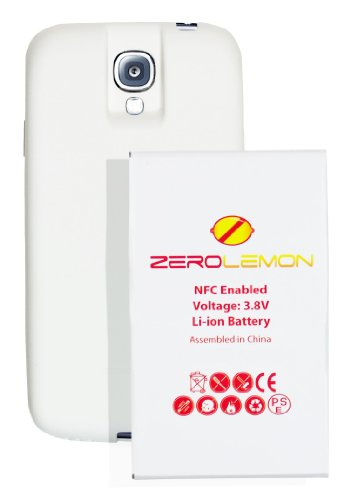 [180 days warranty] ZeroLemon Samsung Galaxy S4 7500mAh Extended Battery + Free White Extended TPU Full Edge Protection Case (Compatible with AT&T I337, Verizon I545, Sprint L720, T-Mobile M919, International I9500 & I9505) ***NFC for S Beam and Google Wallet***- WORLD'S HIGHEST S4 BATTERY CAPACITY - White - (GS4-Ext-White)