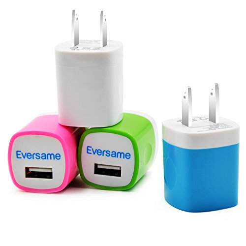 Wall Charger, Eversame 4-Pack Universal USB AC/DC 1AMP Travel Home Wall Charger Power Adapter Plug For iPhone 6s Plus/6s, iPod, Samsung Galaxy S6/S5/Note 5, HTC M9, LG and More(White Pink Blue Green)