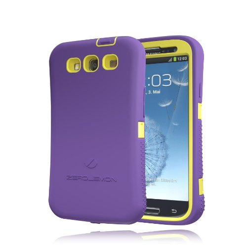[180 Days Warranty] Zerolemon Purple / Yellow Zero Shock Series for Samsung Galaxy S3 S III I9300 - Covers All Battery Sizes - Worlds Only Universal Form Fitting Case. Rugged Hybrid Case Includes Built in Screen Protector, Belt Clip, Holster and Kickstand Usa Patent Pending