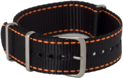 Hadley-Roma MS4220RAG220 22mm Nylon Black Watch Strap