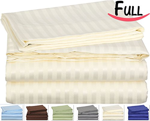 Full Striped Bed-Sheet-Set Ivory - Brushed Velvety Microfiber -Luxurious, Comfortable, Breathable, Soft and Extremely Durable-Wrinkle, Fade and Stain Resistant - Hotel Quality by Utopia Bedding (Full, Ivory)