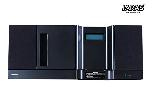 Jaras Iwova Compact JJ-2216 Front Vertical Stereo Home Stereo System Bundles with Aux Line-in, Headphone Jack & Remote