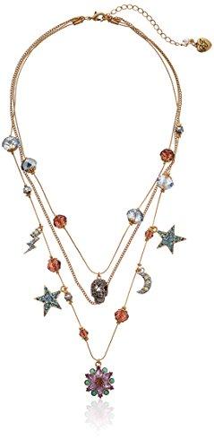 Betsey Johnson Stargazer Skull Multi-Charm Illusion Necklace