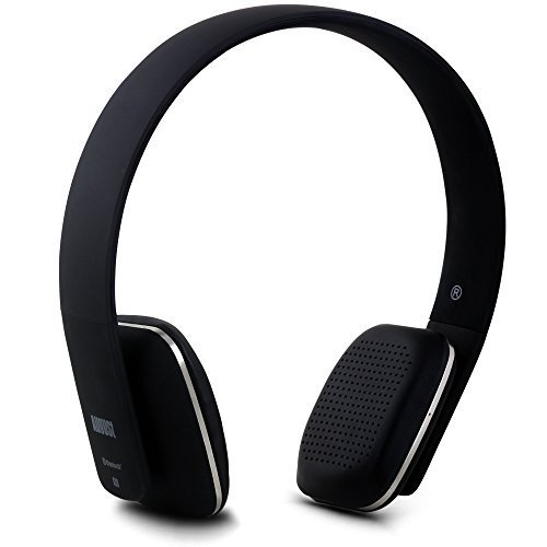 August EP636 Bluetooth Wireless Stereo NFC Headphones - Comfortable On-ear Headset with built-in Microphone and Rechargeable Battery - Compatible with Mobile Phones, iPhone, iPad, Laptops, Tablets, Smartphones (Black)