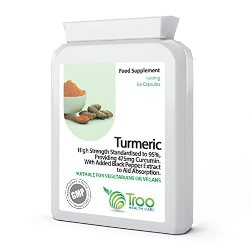 Turmeric 500mg 60 Capsules with Black Pepper Extract - Daily Health Supplement to Support Healthy Joints, Immune System Function, Digestion, Liver and More