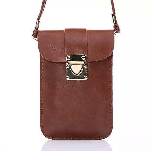 Casy Mall Universal Cell Phone Bag Leather Wallet Case 3 Layers Crossbody Purse With Shoulder Strap For Iphone 6 6S,Galaxy S6,S6 Edge Brown