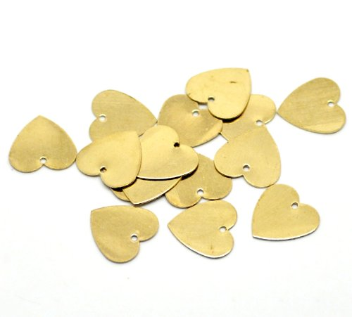 Rockin Beads Brand, 100 Solid Brass Stamping Heart Blanks with Hole Disk Tag Pendants 13mm 1/2 Inch Require Polishing Inch