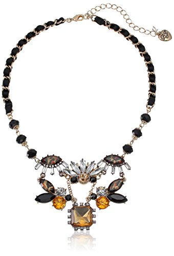 Betsey Johnson Women's Hollywood Glam 5-Piece Cluster Frontal Necklace Leopard Choker Necklace