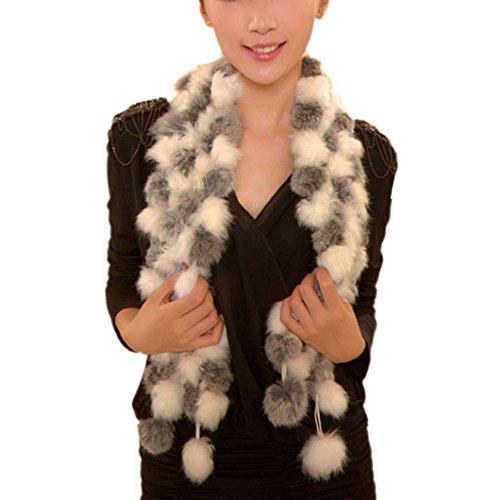 DZT1968(TM) Newest Women Winter Warm Real Rabbit Fur Scarf Ball Velvet Rabbit Style (G)