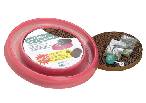 Bergan Star Chaser Bonus Pack includes Extra Turbo Scratch Pad and Extra Catnip, Pink