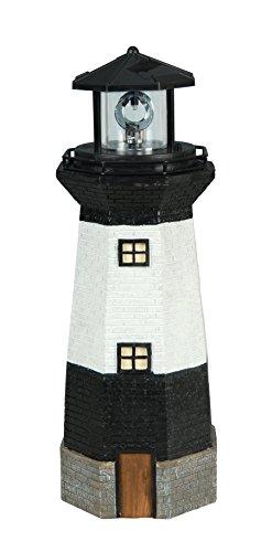 Moonrays 95961 Solar Powered LED Black and Striped Lighthouse, White