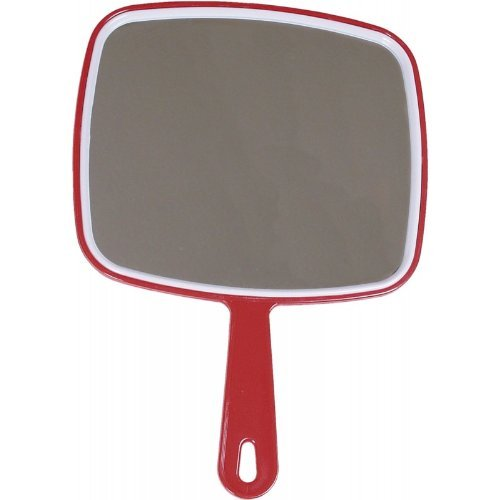 Salon Hairdressing Large Hand Held Mirror (Red)
