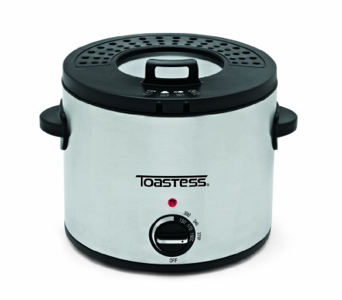 Toastess TDF639 Compact Round Deep Fryer, Stainless Steel