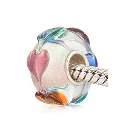 Everbling Love Goes Round Hearts Murano Glass Bead Fits Pandora Charm Bracelet