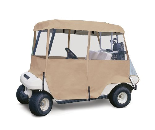 Classic Accessories Fairway Deluxe 4-Sided 2-Person Golf Cart Enclosure, Tan