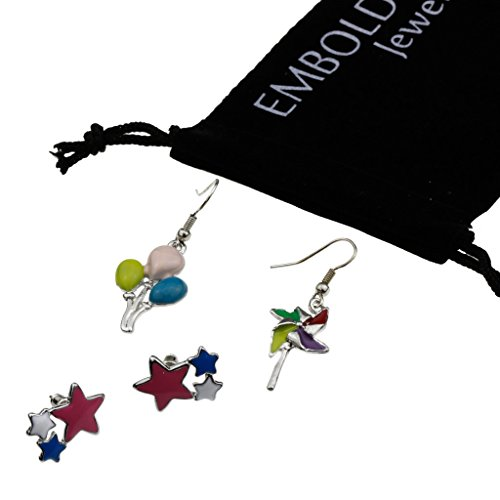 Charm Silver Party Earrings Set in Balloons, Windmind, Stars Shape