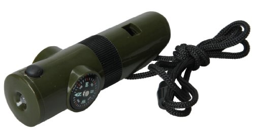 niceeshop(TM) Multifunctional 7 In 1 ABS Survival Emergency Outdoor Essential Whistle Viewfinder Compass With Compass-Military Green