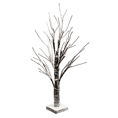 Perfect Life Ideas 24 Inch Snow Covered Lighted Tree - Multiple Uses - Baby Night Light Lamp - Jewelry Tree - Table Top Décor Home Centerpiece Weddings Parties - BO Portable - No Cords Outlets Needed
