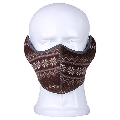 Your Choice Polar Fleece Half Face Mask Windproof Winter Earflap Balaclava Pattern Brown