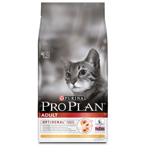 Purina Pro Plan Adult Cat Food Optirenal Rich in Chicken, 10 kg
