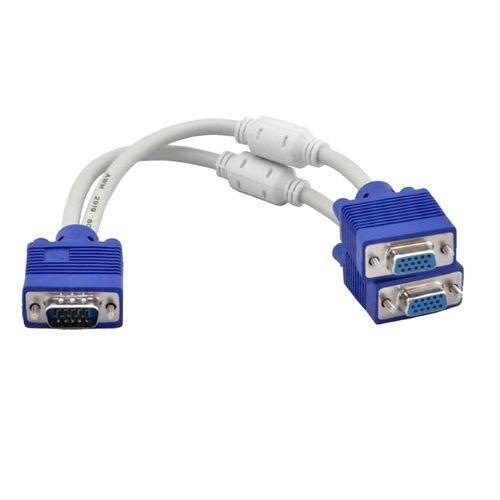 VONOTO VGA Male 1 to 2 VGA Female 1PC to 2VGA SVGA Monitor Y Splitter Cable Adapter Converter For Computer Desktop