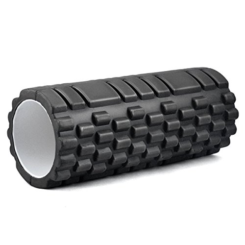 Kabalo - 1 x Textured Exercise / Yoga Foam Roller for Gym Pilates Physio Trigger Point (Black)