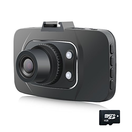 Btopllc 2.7 Full HD 1080P Car DVR / Video Camcorder/Driving Data Recorder/Black HDMI Camcorder Vehicle Camera with Night Vision, G-Sensor and Motion Detection / GS8000L (8G Internal Card Included)