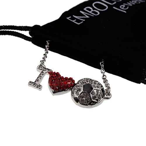 I Love You Silver Crystal Red Heart Soccer Ball Pendant Necklace Best Anniversary Jewelry for Girlfriend