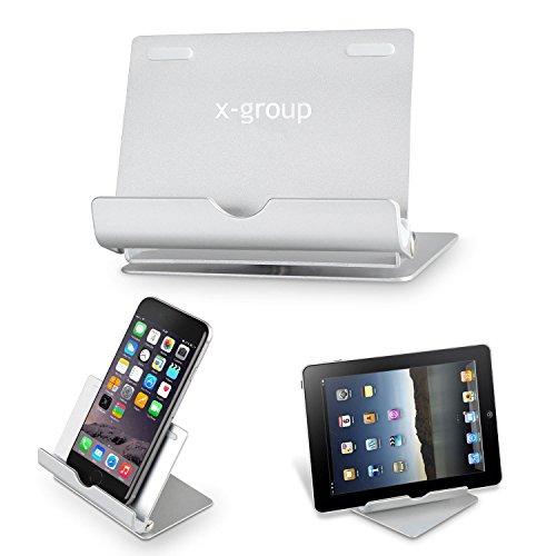 X-group™ Multi-Angle Portable Stand for Tablets 7-10 inch, Pad E-readers and Smartphones, Durable Aluminum Body, Compatible with Apple iPhone 6 Plus 5S 5C 5 4S 4, iPad Mini Retina 2 3, iPad Air / iPad Air 2; Samsung Galaxy S6 S5 mini S4 S3; Note 6 5 4 3 8 10 Edge; Tab 2 3 4 Pro; Google Nexus 6 9 7 5 4; HTC One M7 M8 M9; LG G4 G3 G2; Lumia 435 940; - silver