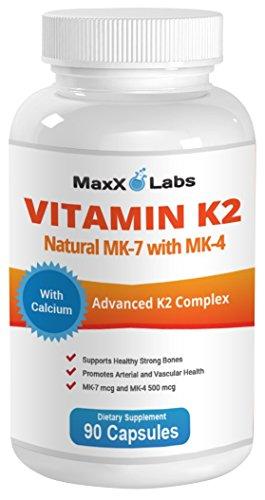 BEST Vitamin K2 ? 600 mcg ? 90 Vegie Caps ? Advanced Formulation of All Natural MK7 (Natto) and MK4 Menatetrenone) Plus Calcium 100 mg - Vitamin K - MK-7 + MK-4 with No GMOs, Gluten and Allergens Free