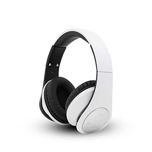 Bluetooth Wireless Foldable Hi-fi Stereo Over-ear Headphone Sports Earbuds Earphone with Microphone Adjustable Headband for Smart Phones Tablets White