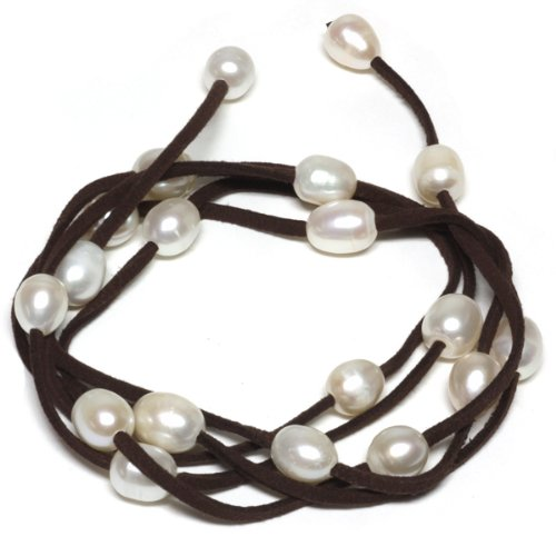 48 White Cultured Freshwater Pearl on Brown Leather Wrap Bracelet / Necklace