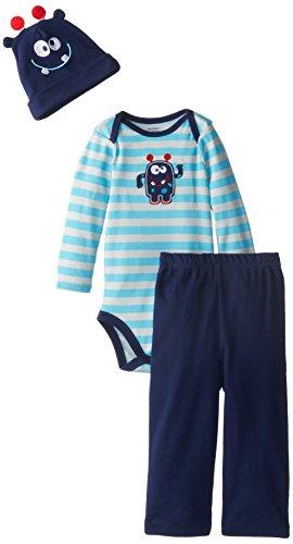 Gerber Baby Boys' 3 Piece Set Bodysuit Cap and Pant, Monster, 12 Months