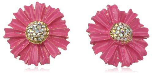 Betsey Johnson Pink Flower Stud Earrings