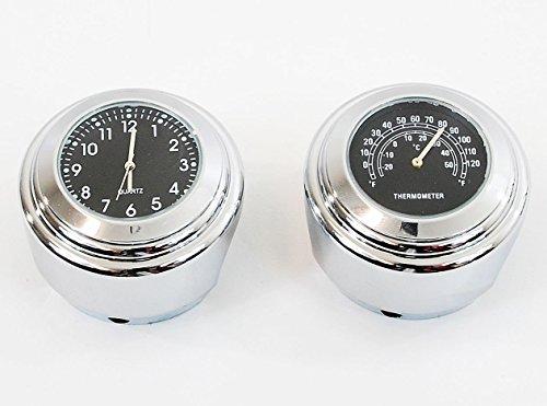 Thermometer + Clock Motorcycle Handlebar Chrome Black Dial Cruiser 7/8 1 bar x