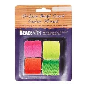 Beadsmith S-Lon Bead Cord, Size 18, Neon Color Mix, 4 Colors 77 yards each