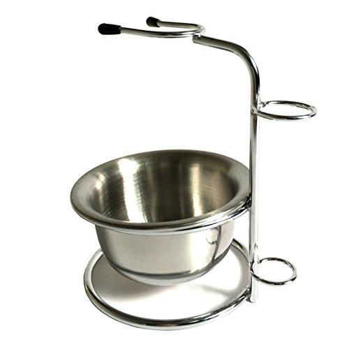Chrome Razor and Brush Stand - The Best Safety Razor Stand - Stainless Steel Shaving Brush Bowl/mug