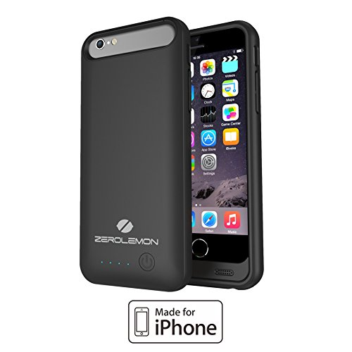 iPhone 6 Battery Case, ZeroLemon iPhone 6 2400mAh Slim Juicer External Protective Battery Case ,(Fits All carriers of iPhone 6 - Lightning Connector Output, MicroUSB Input) [365 days ZeroLemon Warranty Guarantee]-Black